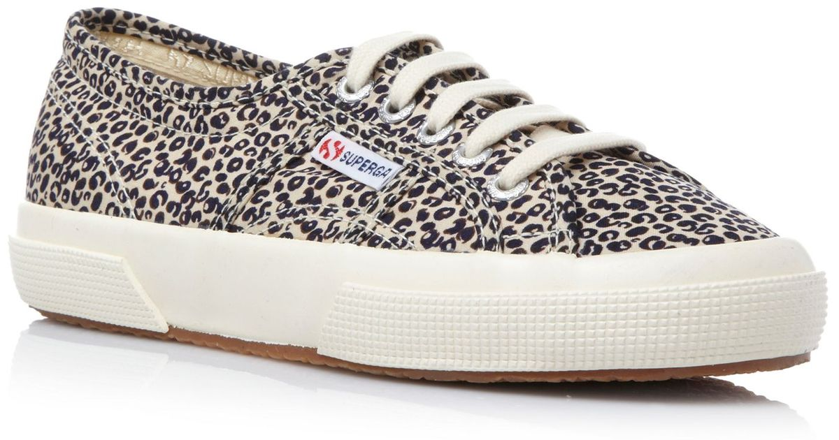 superga 2750 spotted leopard print lace up shoes lyst. Black Bedroom Furniture Sets. Home Design Ideas