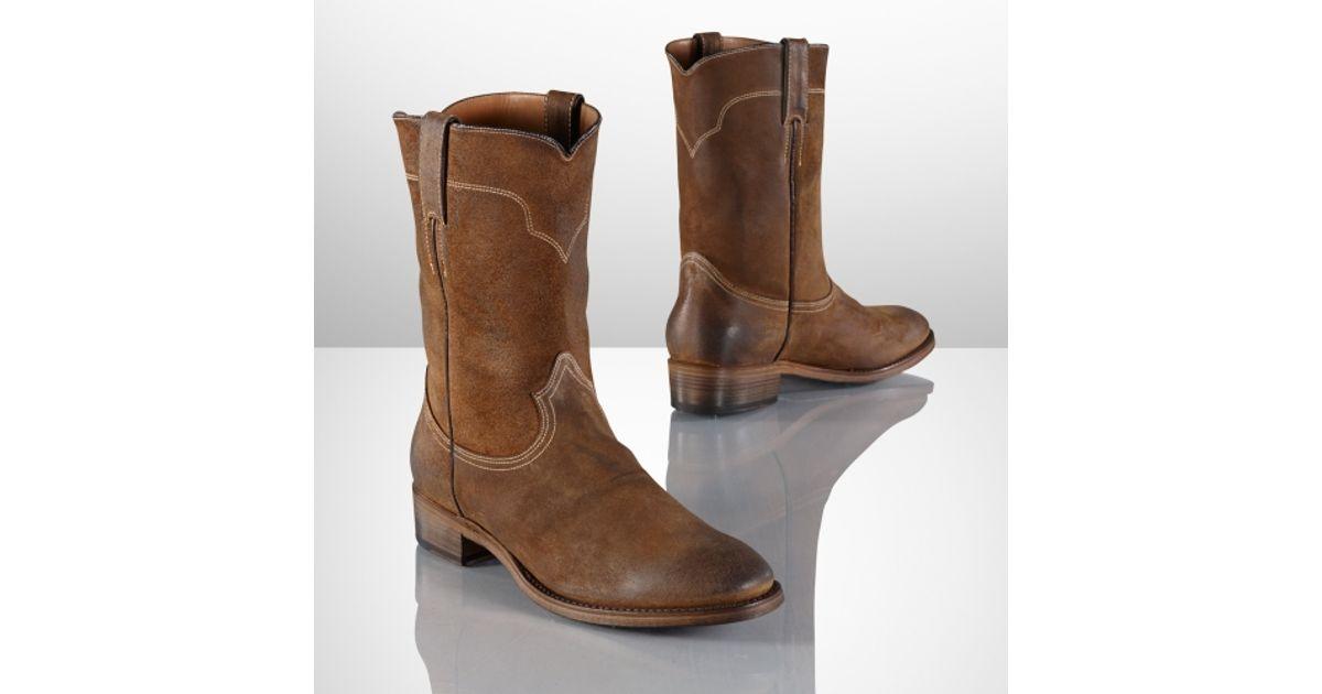 Ralph lauren Ackley Oiled Suede Boot in Brown for Men   Lyst