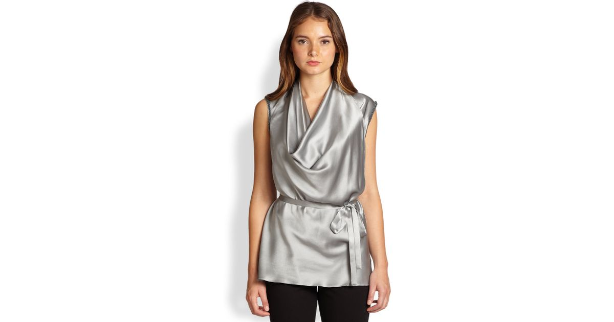 0da46f6ec73b2 Lyst - Josie Natori Silk Charmeuse Belted Beadtrimmed Top in Metallic