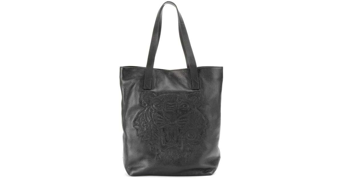 ec84ead703d KENZO Embroidered Tiger Leather Shopper in Black - Lyst