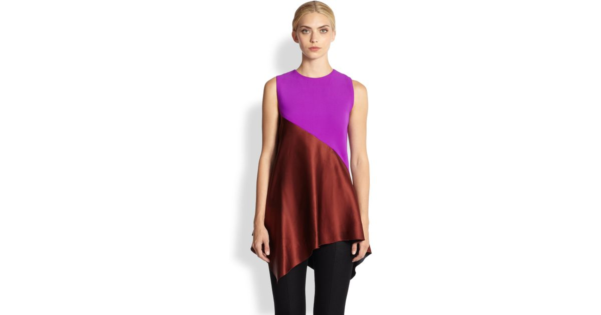 1642a9ada1061 Lyst - Narciso Rodriguez Silk Colorblock Asymmetrical Top in Red