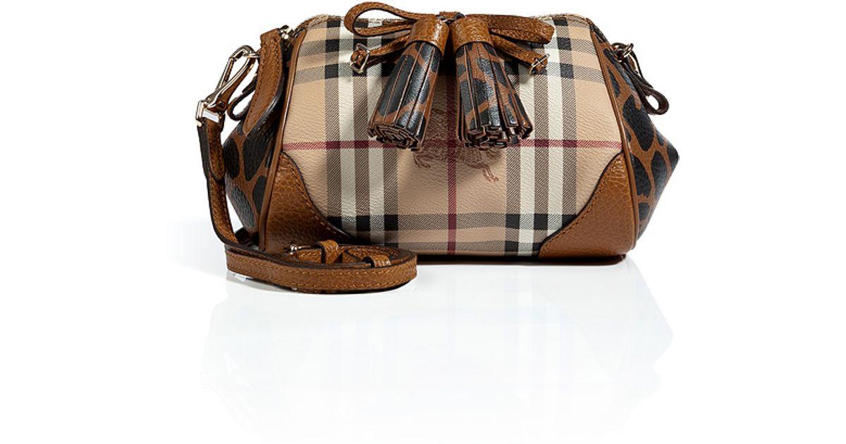 91e287436d05 Lyst - Burberry Haymarket Mini Blaze Crossbody Bag in Brown