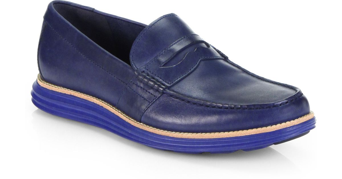 8fa72570298 Lyst Cole Haan Lunar Grand Penny Loafers In Blue For Men
