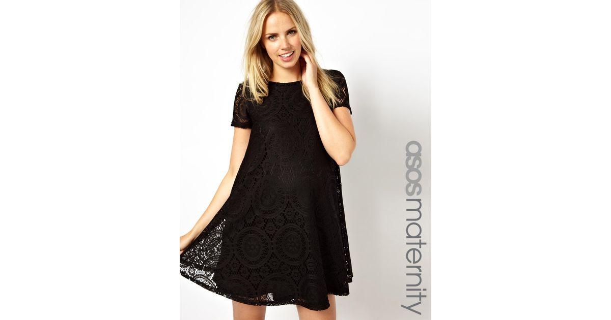 Lyst Asos Asos Maternity Swing Dress In Lace In Black