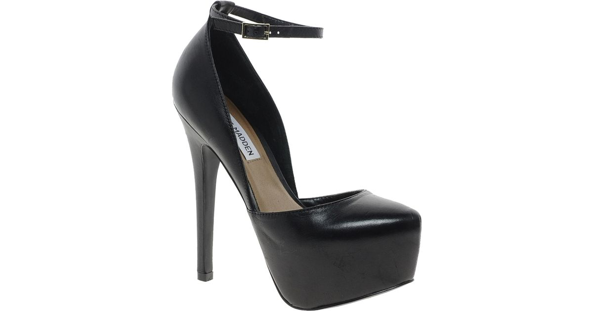 f6cf01f960d Lyst - Steve Madden Deeny Black Leather Ankle Strap Heeled Shoes in Black