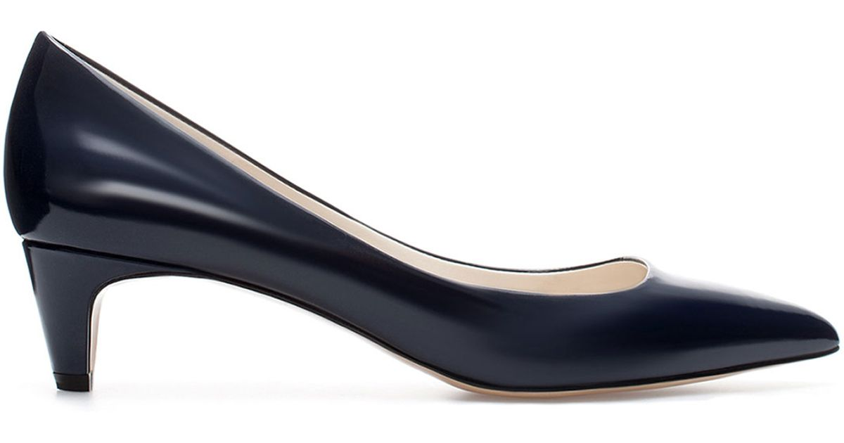 Zara Kitten Heel Court Shoe in Blue | Lyst