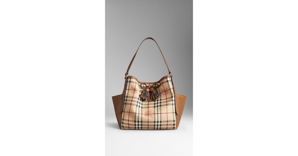 f6feb046118e Lyst - Burberry Small Haymarket Check Tassel Detail Tote Bag in Brown