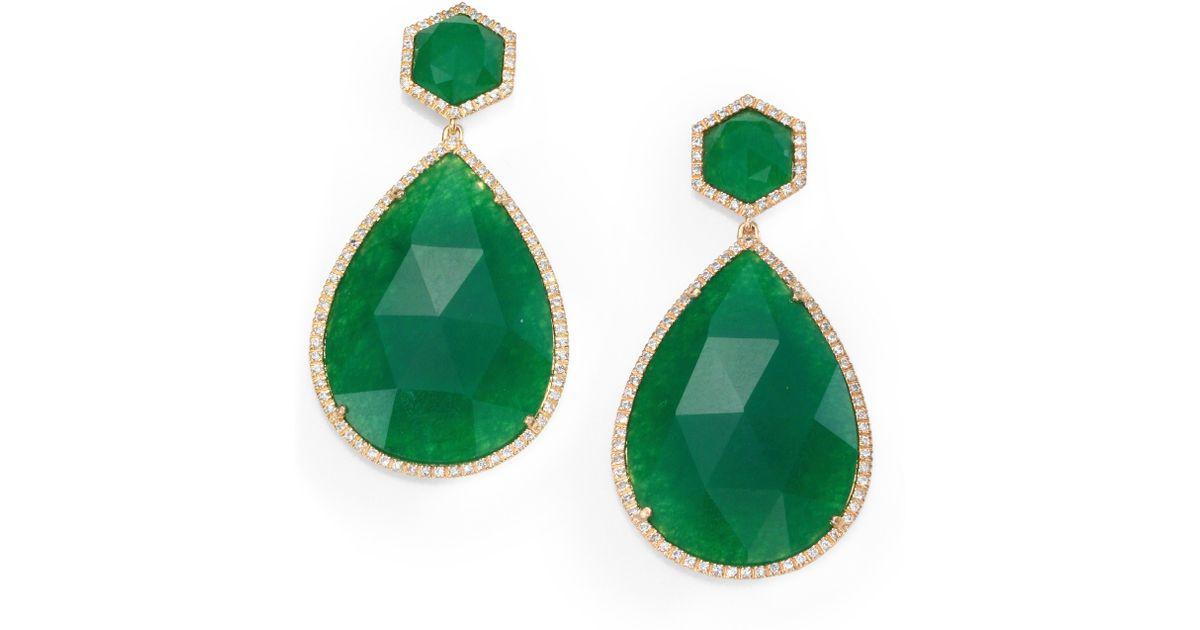Lyst Mija Green Jade Pavé White Shire Teardrop Drop Earrings In