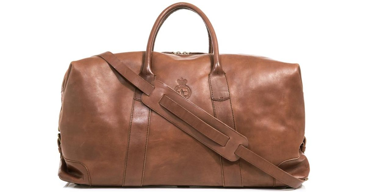 4ee5f4503855 Lyst - Polo Ralph Lauren Leather Weekender Bag in Brown for Men