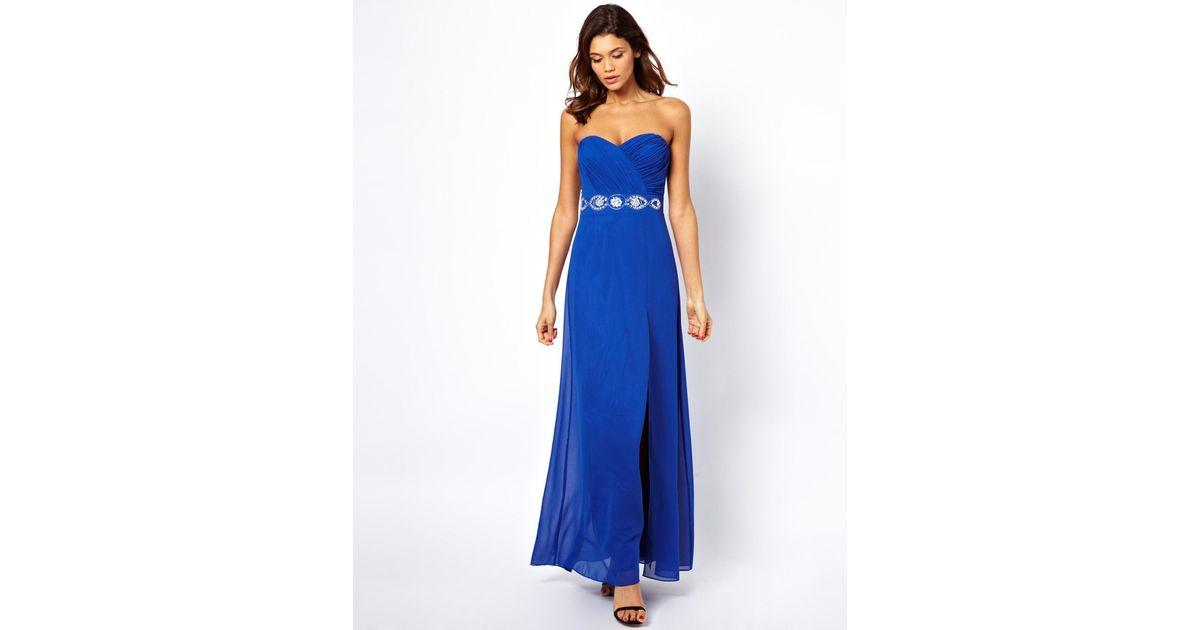 83b60d55dc1739 Lyst - Lipsy Lipsy Embellished Bandeau Maxi Dress in Blue