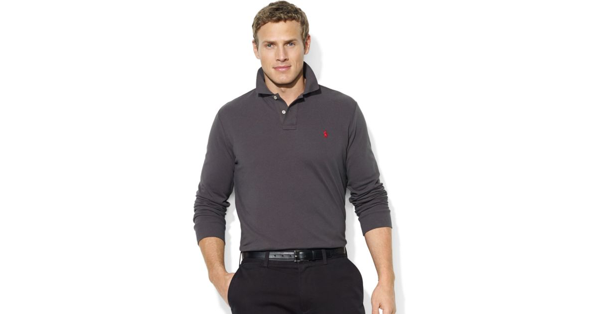Ralph lauren Classic-fit Long sleeve Cotton Mesh Polo in Gray for Men | Lyst