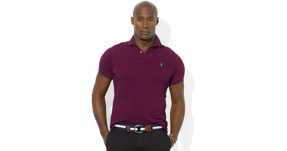Ralph lauren Classic Fit Short Sleeve Cotton Mesh Polo in Purple for Men | Lyst