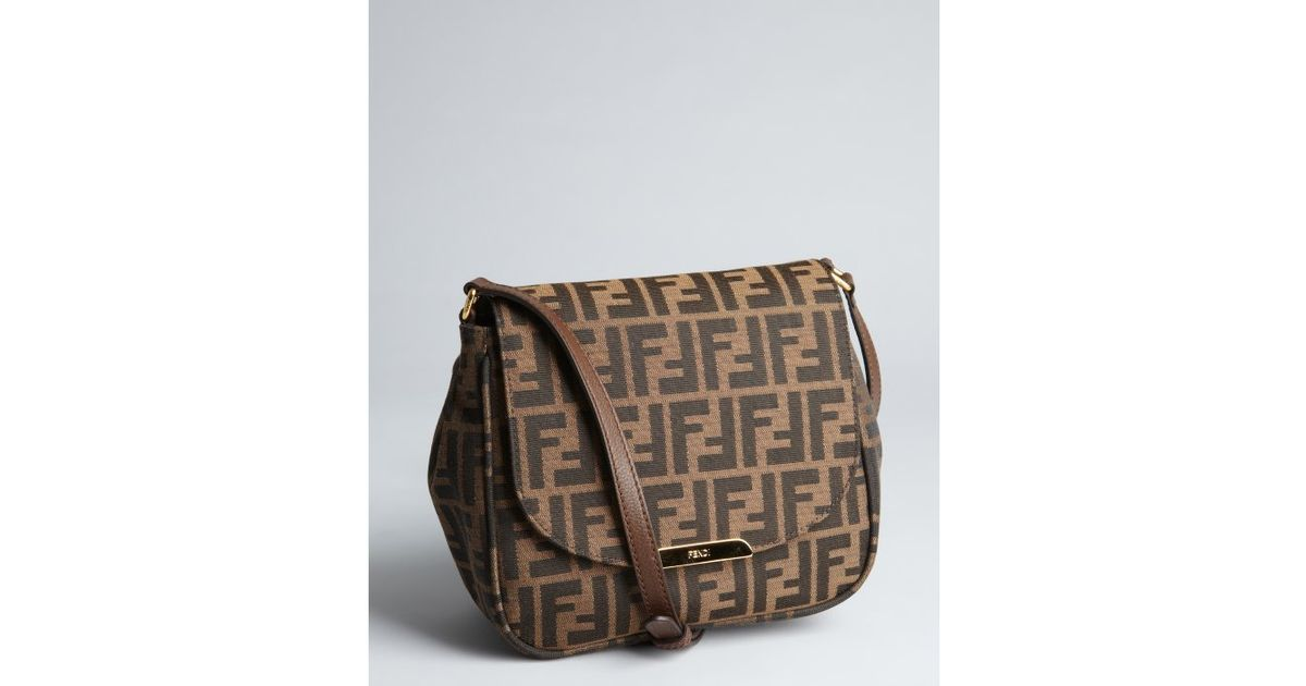 e3b0295cd53 ... purchase lyst fendi tobacco and brown zucca canvas crossbody bag in  brown 30ab6 27605