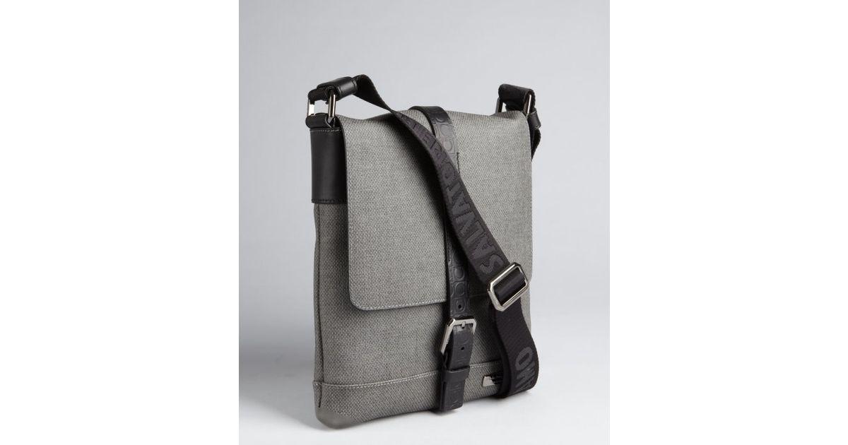79e149de6588 Ferragamo Grey Coated Canvas Map Case Small Messenger Bag in Gray for Men -  Lyst