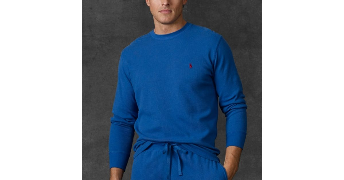 dbf61a63 Polo Ralph Lauren Waffle Knit Crewneck Thermal in Blue for Men - Lyst