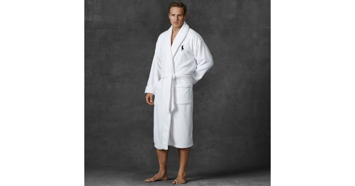 Lyst - Polo Ralph Lauren Chenille Shawl-collar Robe in White for Men f1fbcd7ce63