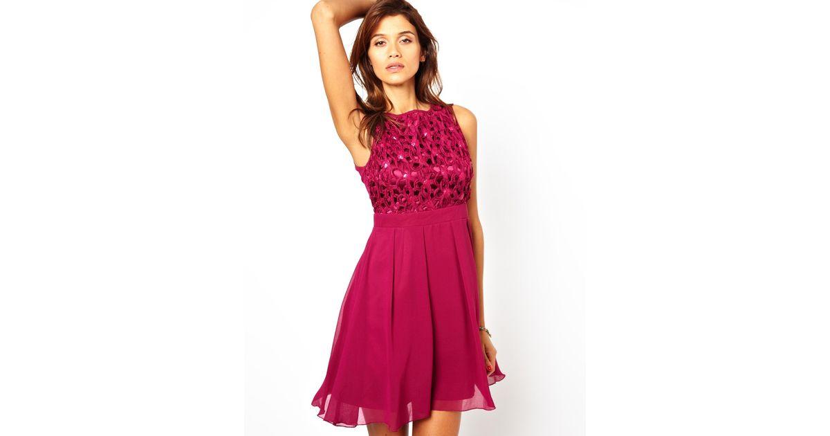 Lyst - Little Mistress Babydoll Prom Dress with Cornelli Trim in Pink