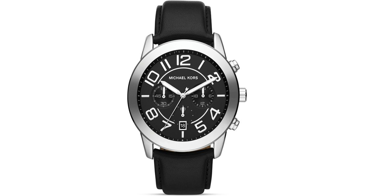 c9200fedb Michael Kors Mens Black Leather and Silver Tone Mercer Chronograph Watch  45mm in Black for Men - Lyst