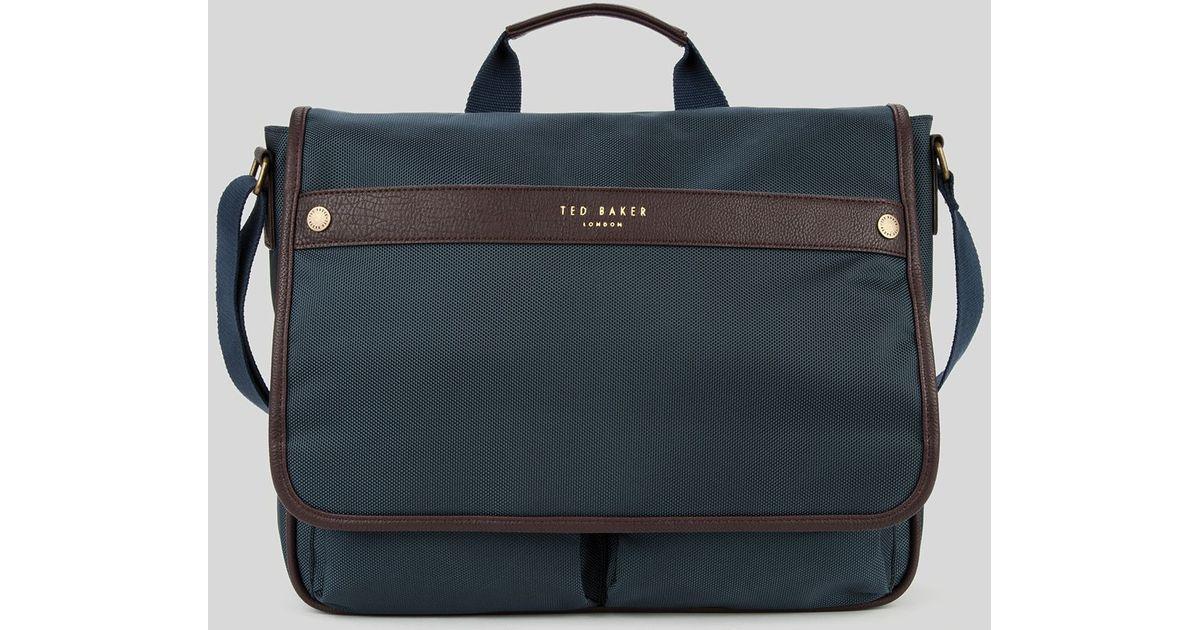 Lyst - Ted Baker Caradoc Zip Messenger Bag in Blue for Men 22c25ca588ba7