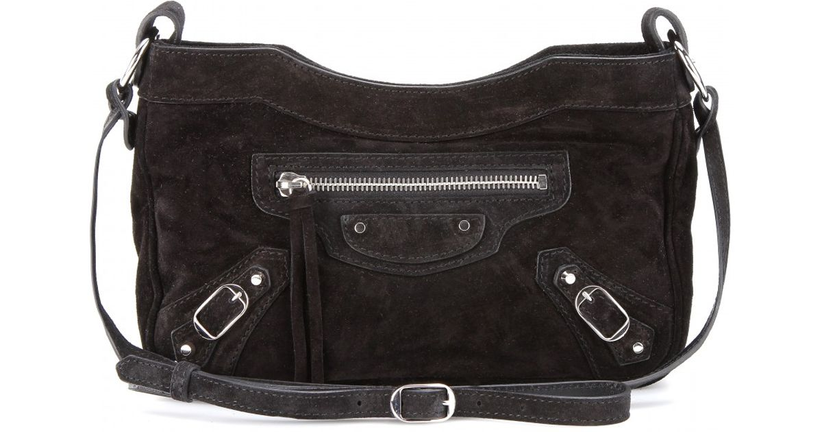 9ad32451ad Lyst - Balenciaga Classic Hip Suede Shoulder Bag in Black