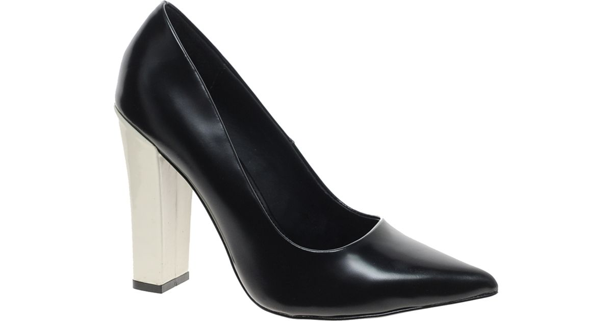 e7a76aa5e5aedb Lyst - KG by Kurt Geiger Calista Leather Pointed Block Heel Court Shoes in  Black
