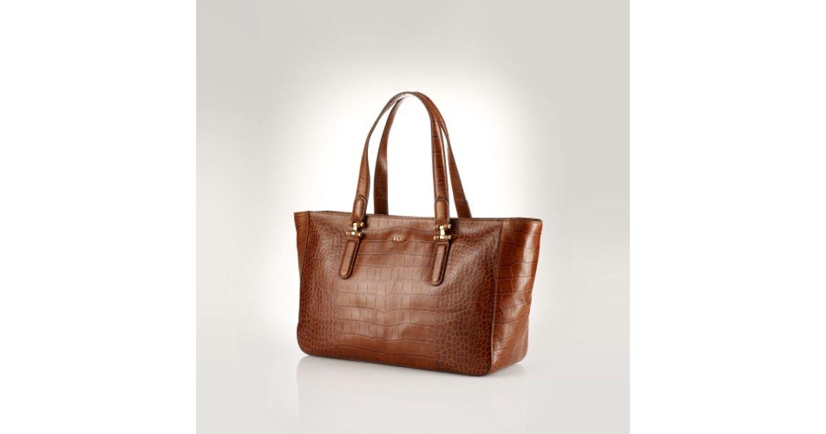 4ffbd780c5f7 Lyst - Lauren by Ralph Lauren Croc Embossed Leather Tote in Brown