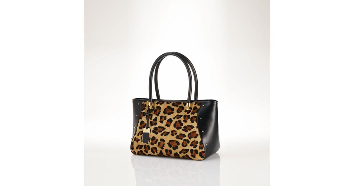 2a962f78a56d Lyst - Lauren By Ralph Lauren Leopard Studded Haircalf Tote in Black