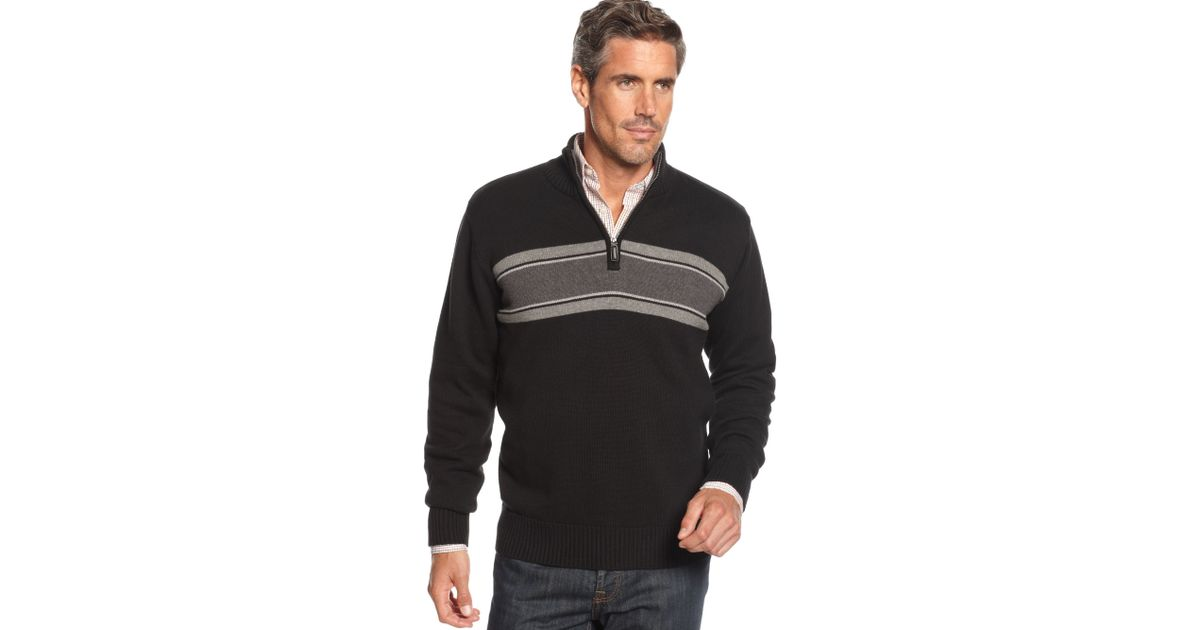 Lyst Oscar De La Renta Chest Stripe Quarter Zip Cotton Sweater In