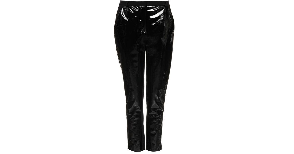 choose authentic another chance deft design TOPSHOP Black Patent Front Trousers By Unique