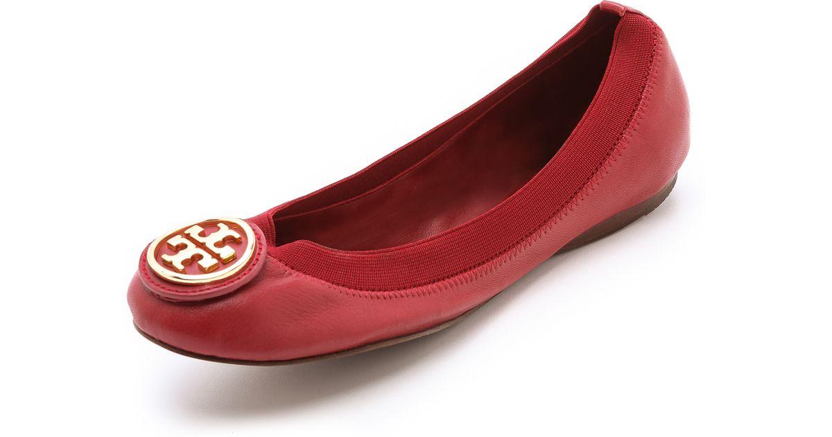 2fea8784ac9 Lyst - Tory Burch Caroline Elastic Ballet Flats in Red