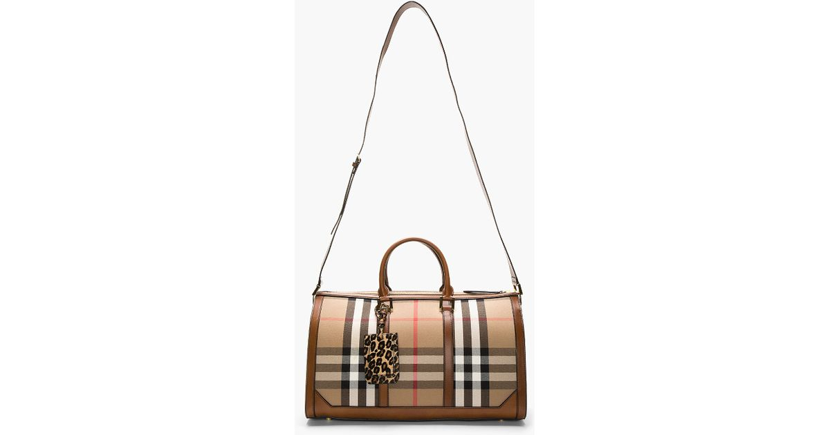 Lyst - Burberry Prorsum Tan Leather trimmed House Check Duffle Bag in Brown  for Men 9bfe56d3ae638