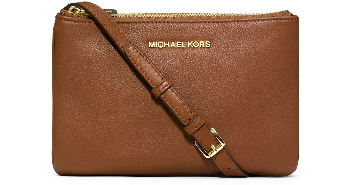 4be7669b68ae Lyst - Michael Kors Michael Bedford Gusset Crossbody Bag in Brown