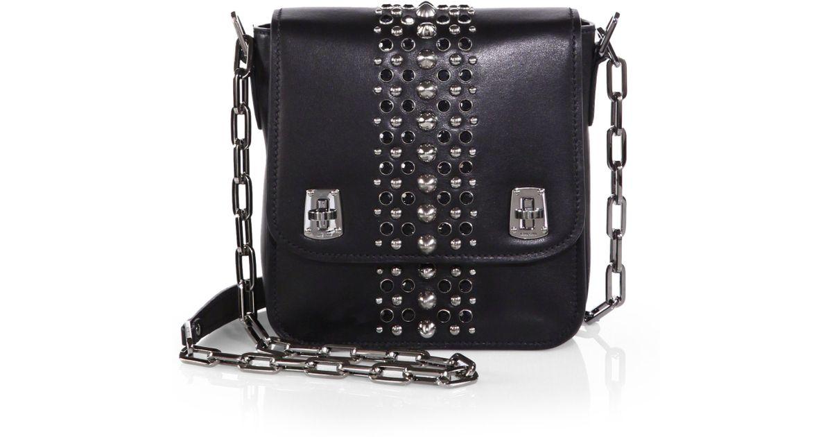 7bda58a9c3f Lyst - Miu Miu Studded Shoulder Bag in Black