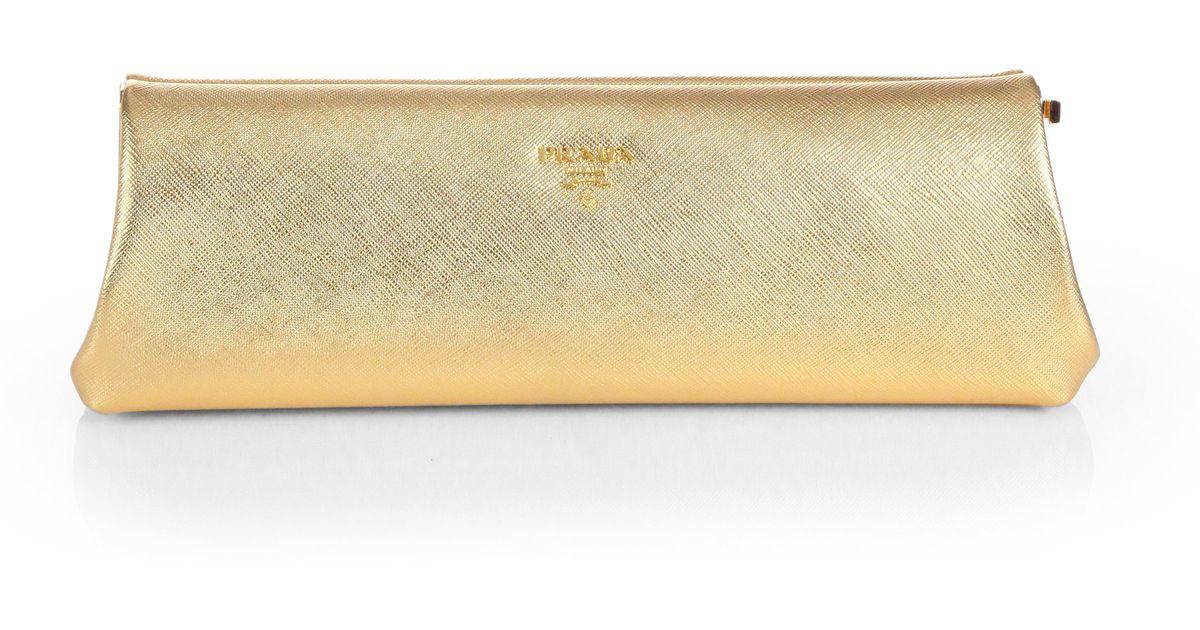 Prada Saffiano Metallic Lux Frame Clutch in Yellow (GOLD) | Lyst