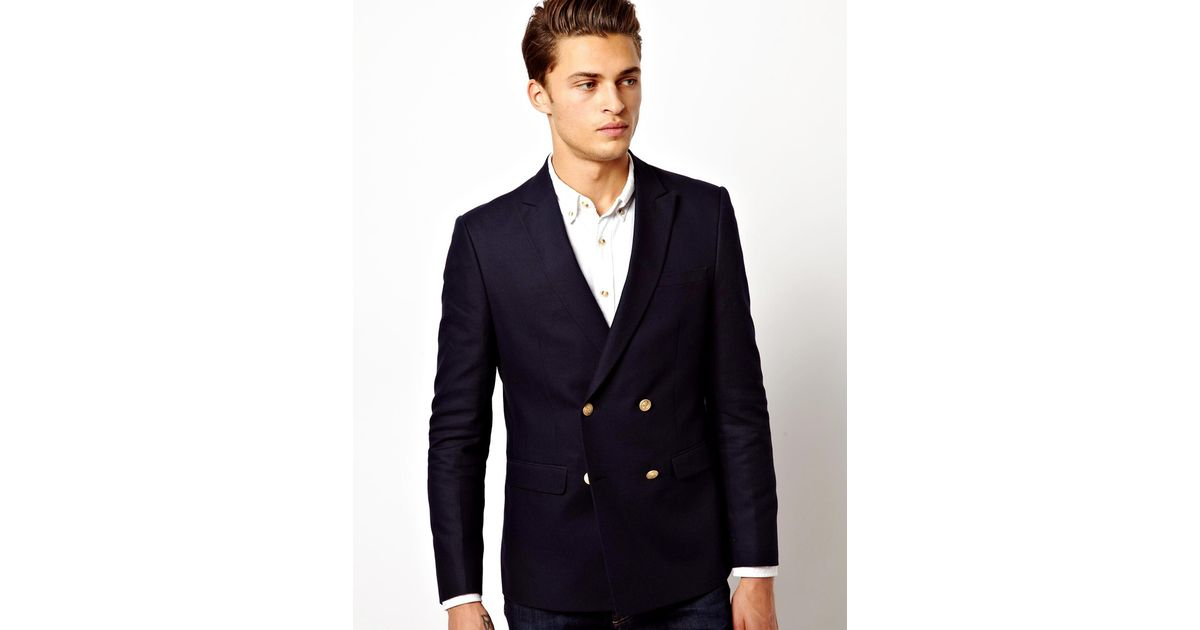 1eec4a89d30c6 Lyst - ASOS Slim Fit Double Breasted Blazer With Gold Buttons in Black for  Men