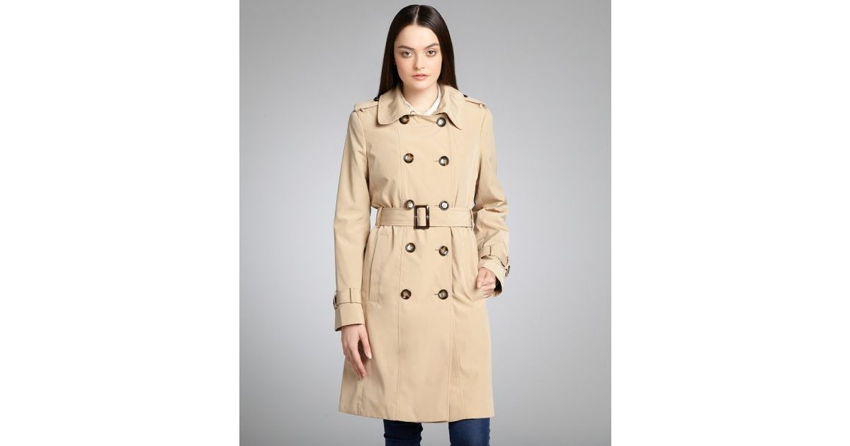 Calvin klein Khaki Double-breasted Fleece Lined Belted Trench coat