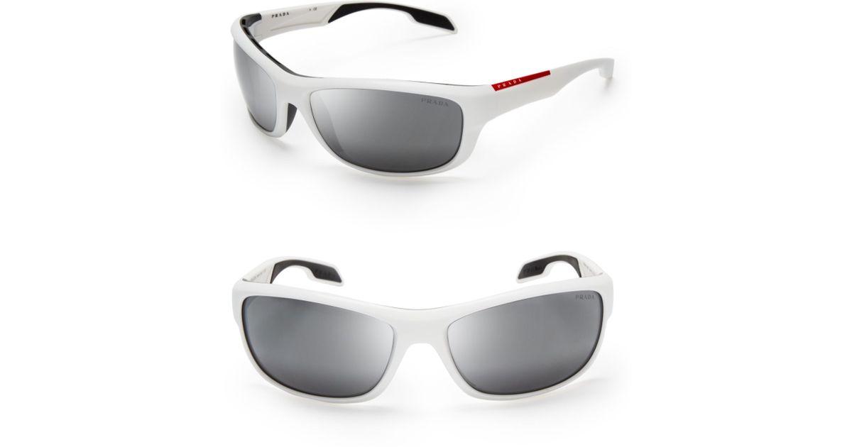 e7808e4d516 ... greece lyst prada sport wrap sunglasses in white for men 7c494 7df6d