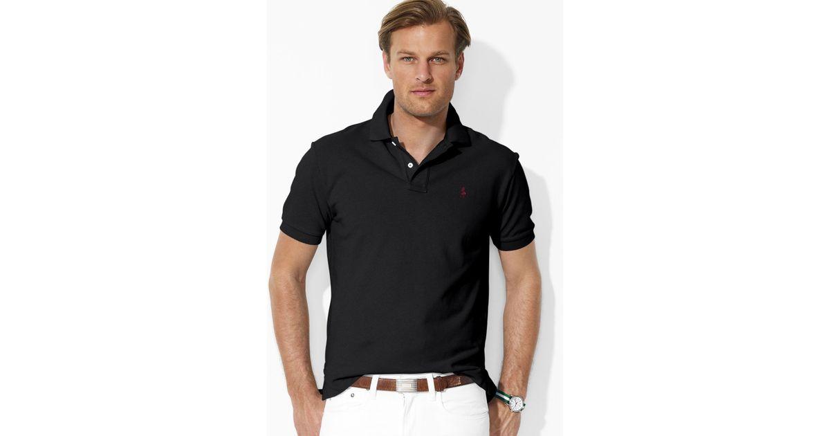 Ralph lauren Polo Custom Fit Short Sleeved Cotton Mesh Polo in Black for Men | Lyst