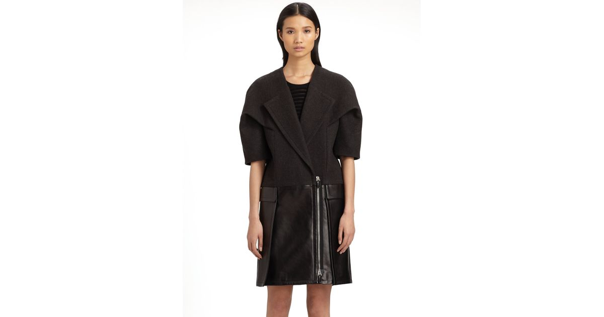 Alexander wang Wool Leather Coat in Black | Lyst