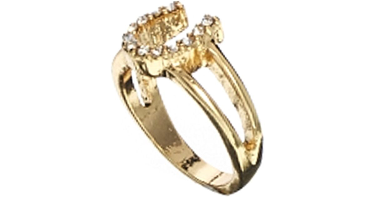Lyst Dogeared Asos Horseshoe Pinky Ring in Metallic