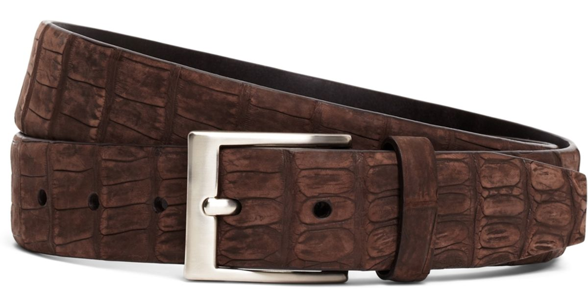 brothers sueded crocodile leather belt in brown for