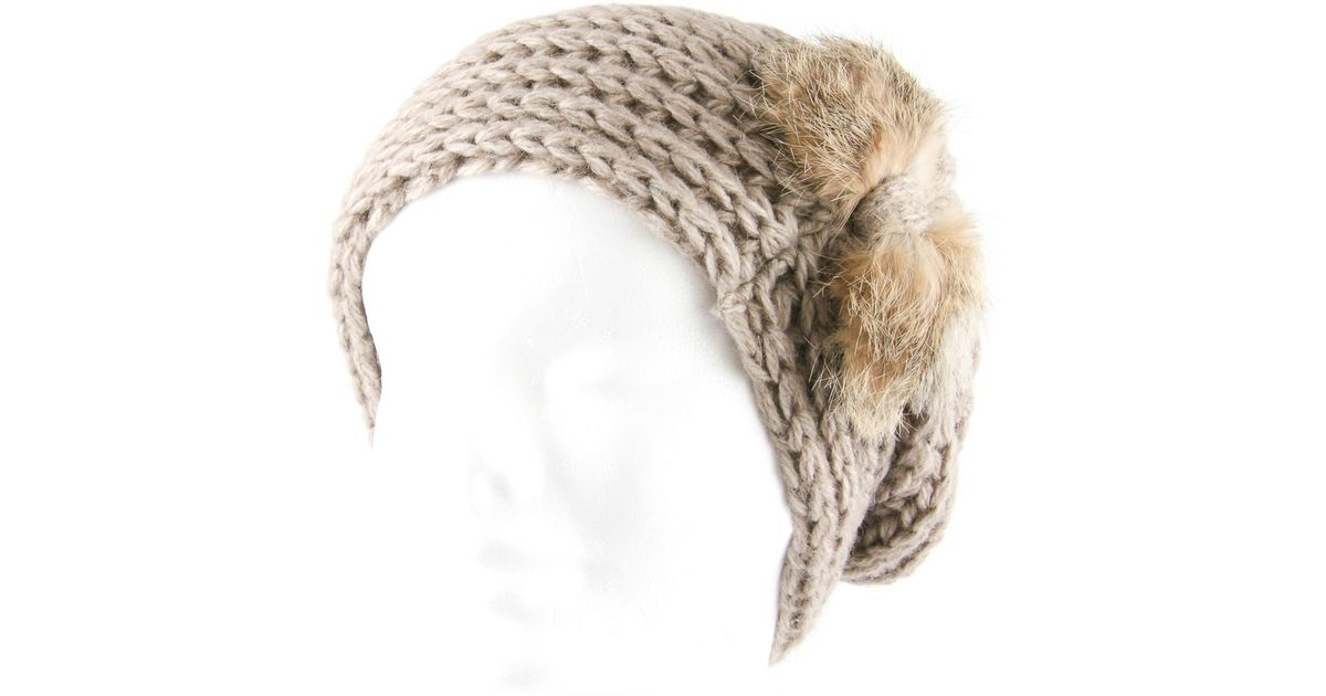 e1f06d0a0c9 Uk Cappuccino Alpaca Slouch Beanie Hat With Caramel Rabbit Fur Bow Description  Delivery   Returns Reviews in Brown