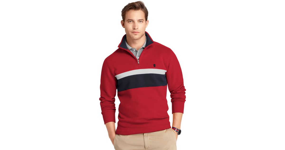 Izod Sweater Quarter Zip Chest Stripe Sueded Fleece Pullover ...
