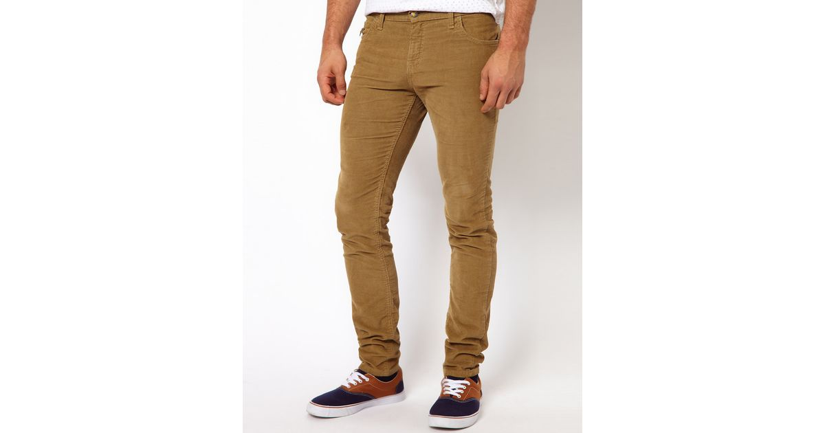 Lyst French Connection Monkee Genes Skinny Cord Chinos in Brown for Men