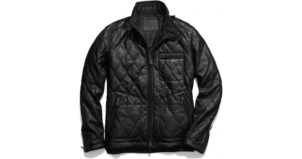 Lyst Coach Bowery Leather Quilted Jacket In Black For Men