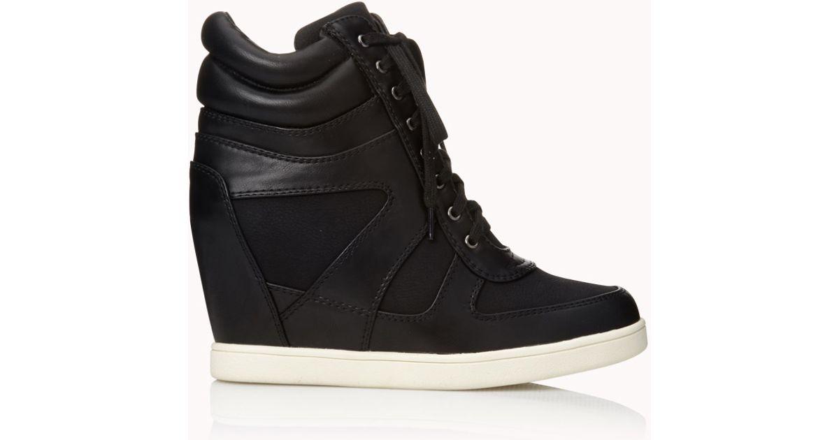 Lyst - Forever 21 Sleek Colorblocked Wedge Sneakers in Black cf6bede46