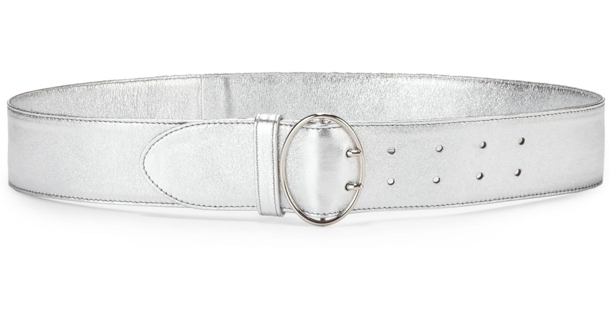 Prada Wide Metallic Nappa Leather Belt in Silver | Lyst