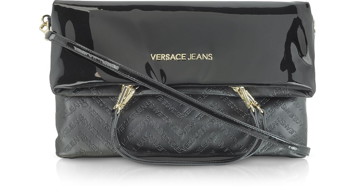 82d5b62f173b Lyst - Versace Jeans Black Patent Eco Leather Foldover Shoulder Bag in Black