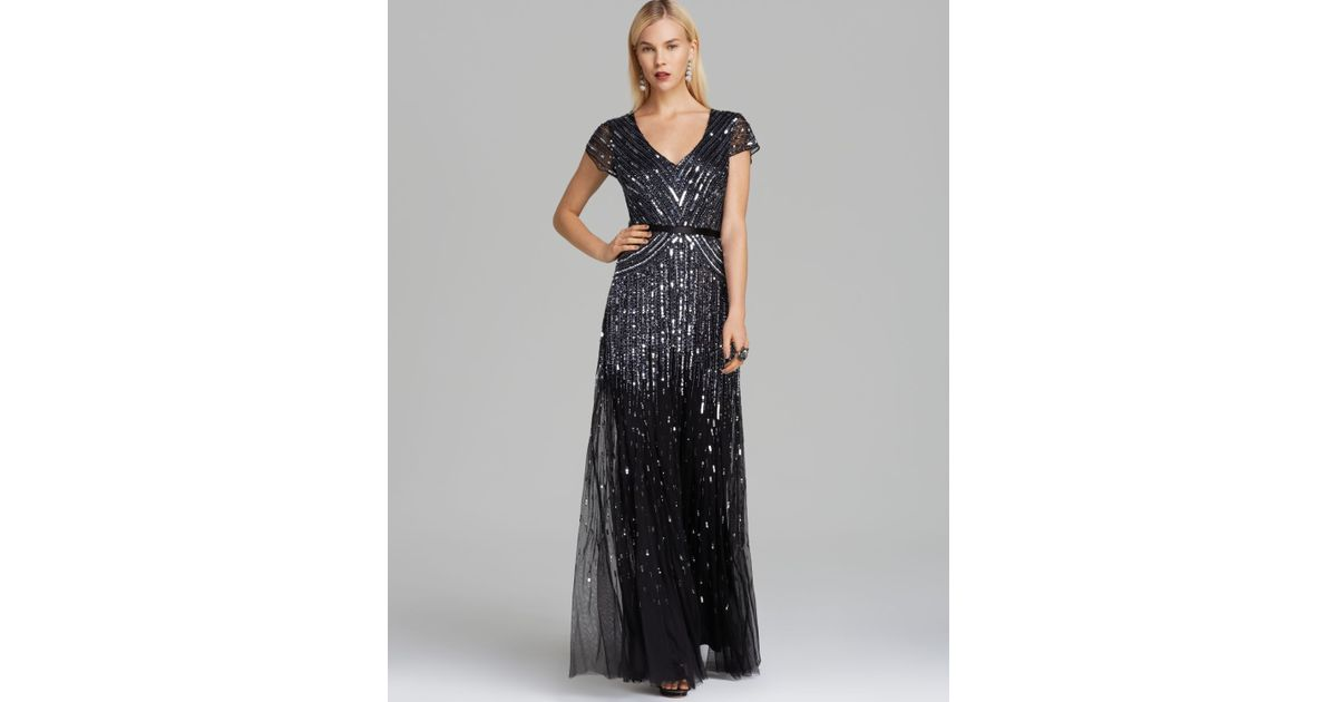 8241c6b02205f6 Adrianna Papell V Neck Beaded Gown Cap Sleeve in Black - Lyst