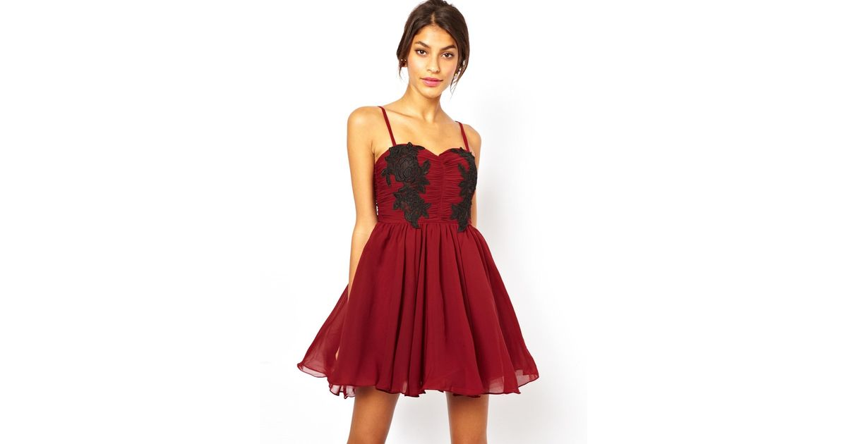 Lyst rare opulence lace applique prom dress in red